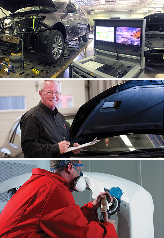 Three images stacked vertically. Top image: running diagnostics on a car. Middle image: smiling man with a clipboard. Bottom image: a man sanding a repaired spot on a bumper.